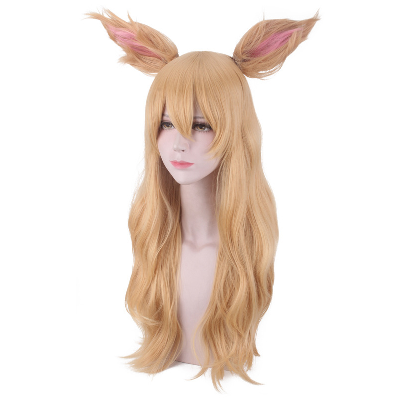 2019 HOT Game LOL Character KDA K/DA Ahri Cosplay Wigs 70cm with ears KDA Heat Resistant Synthetic Hair Perucas Cosplay Fox Wig