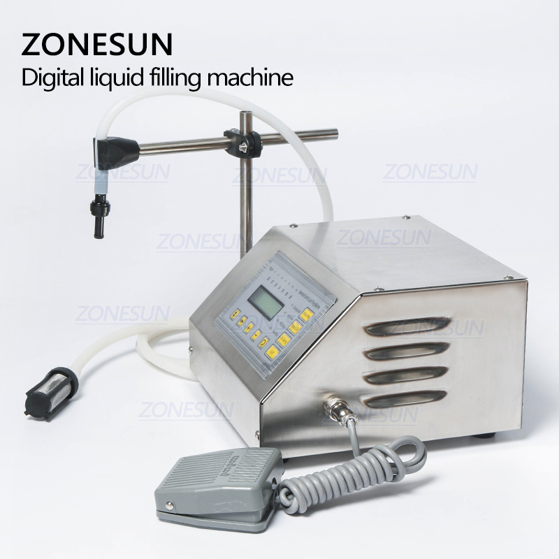 ZONESUN 5-3500ml Accuracy Digital Liquid Filling Machine LCD Display Perfume Drink Water Milk Filling Machine Bottle Vial Filler