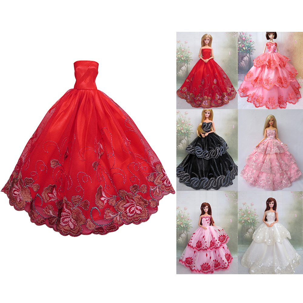 6 PCS Doll Toy Lace Satin Formal Long Dress Cloth Outfits Accessories for 11.5 inch Barbie Doll Girls Birthday Christmas Gift