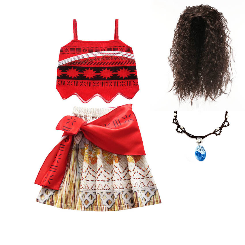 Kids Dresses For Girls Moana Vaiana Clothing Girls christmas party princess Adventure Outfit Cosplay Costume with Wig Necklace funny brown green tree outfit unisex child kids cosplay party costume 2 7y