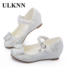 ULKNN Princess Heels Shoes Children Wedge Shoes Girls Footwear Soft Breathable Female Sandals Party For Girls Kids Silver