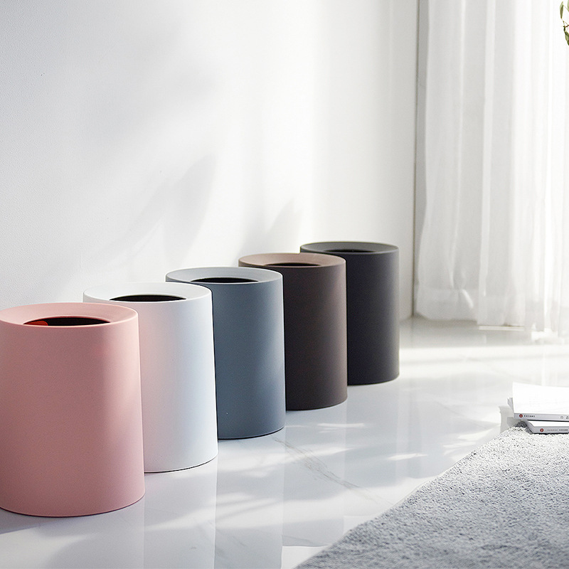 North European Style Plastic Matte Trash Can Office Living Room Kitchen Bathroom Double layer Trash Bin