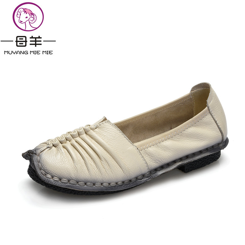 MUYANG 2017 Fashion Loafers Women Shoes Genuine Leather Flat Shoes Woman Handmade Soft Comfortable Casual Shoes Women Flats 2017 fashion women shoes genuine leather loafers women mixed colors casual shoes handmade soft comfortable shoes women flats