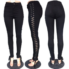 Europe and the United States fashion lateral cross lacing black jeans sell lots of hot style ladies feet jeans