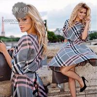 Tumn 2017 New Fashion Women Plaid Print Dress Casual O Neck Half Sleeve Tunic Vintage Dresses