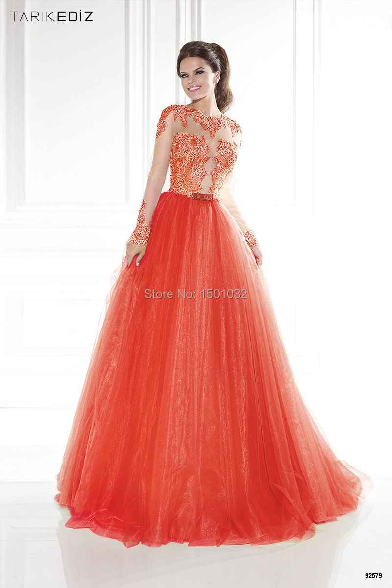 Salmon Pink A Line Lace Long Sleeves Prom Dresses Sheer Scoop Neck ...