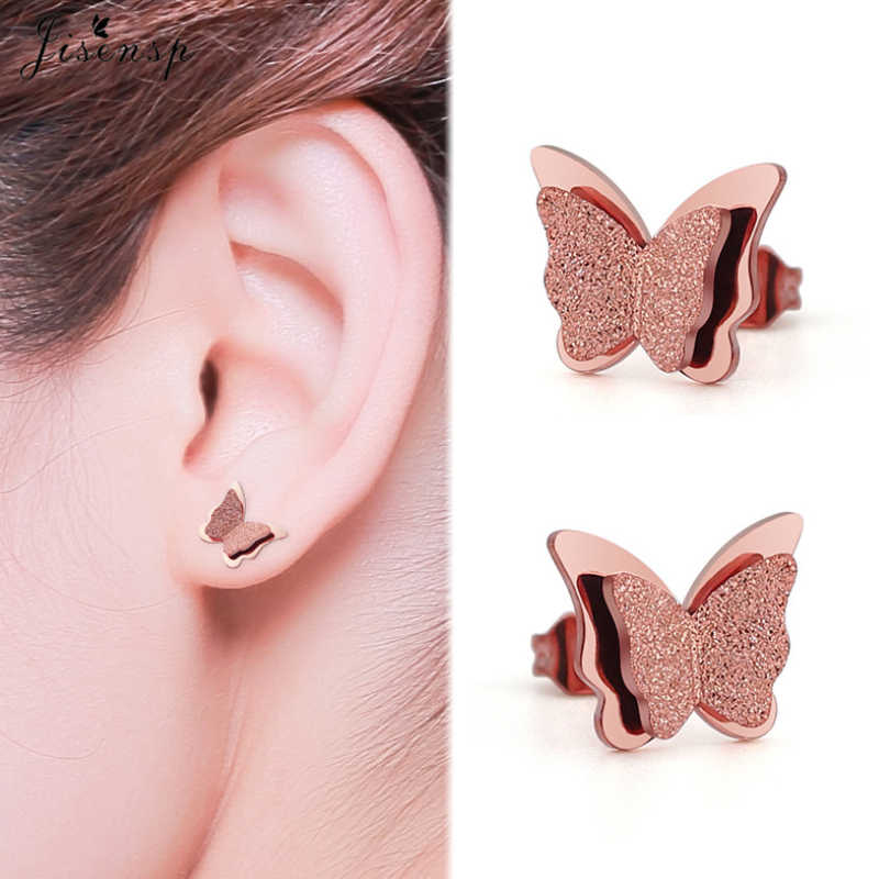 Jisensp or mat papillon boucles d'oreilles collier bijoux ensembles pour filles enfants en acier inoxydable bijoux enfants cadeau en gros