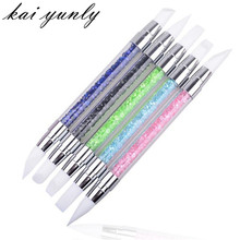 kai yunly 1PC Professional Pencil Strass Head Nail Art Brush Nail Silicone Brushes With Acrylic Strap Sep 30