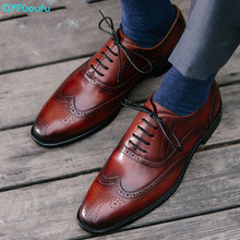 QYFCIOUFU Luxury Designer Brogue Mens Dress Shoes Genuine Leather Pointed Toe Men Party Wedding High Quality Oxford