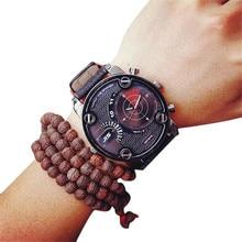 Mode Casual Hommes Montre Grand Alliage Cadran Horloge Faux En Cuir Quartz Montre-Bracelet Militaire de L'armée des Hommes Sport De Luxe Montres Relogio