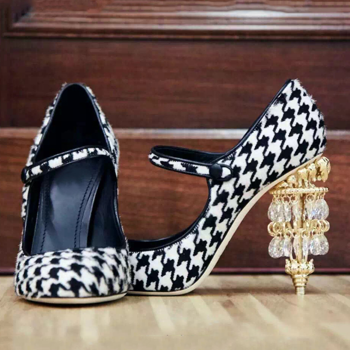 2017 Spring New Arrival Retro Mary Janes Woman Pumps Crystal Lamp Shape Strange Heel Crystal Embellished Women Single Shoes