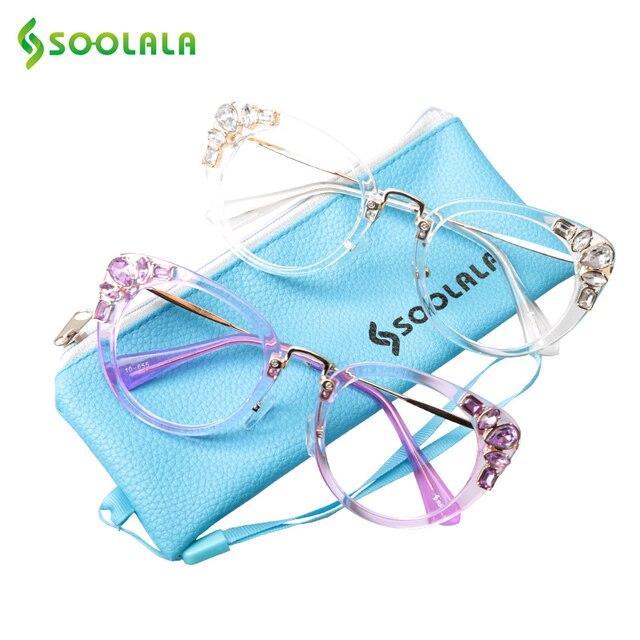 SOOLALA Cateye Reading Glasses Womens Luxury Rhinestone Eyeglasses Leopard Black Purple Presbyopia Reading Glasses +0.5 to 4.0