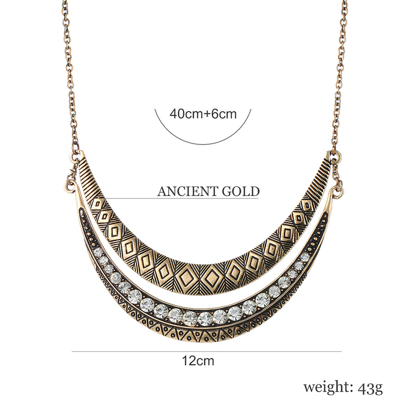 Ethnic Retro Carved Moon Crescent Chokers Necklace