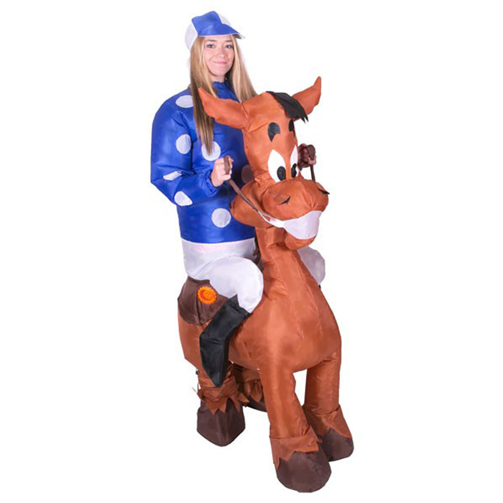 Inflatable Horse Jockey Costume Blow Up Suit for Women Men Adult Ride on Horse Hen Stag Night Party Carnival Cosplay Fancy Dress