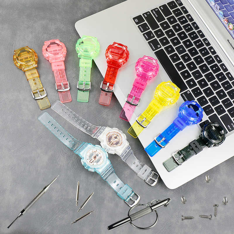 時計アクセサリー樹脂ストラップケース男性カシオ BABY-G BA-110 111 112 3A 4A2 スポーツ防水ストラップ女性の時計バンド
