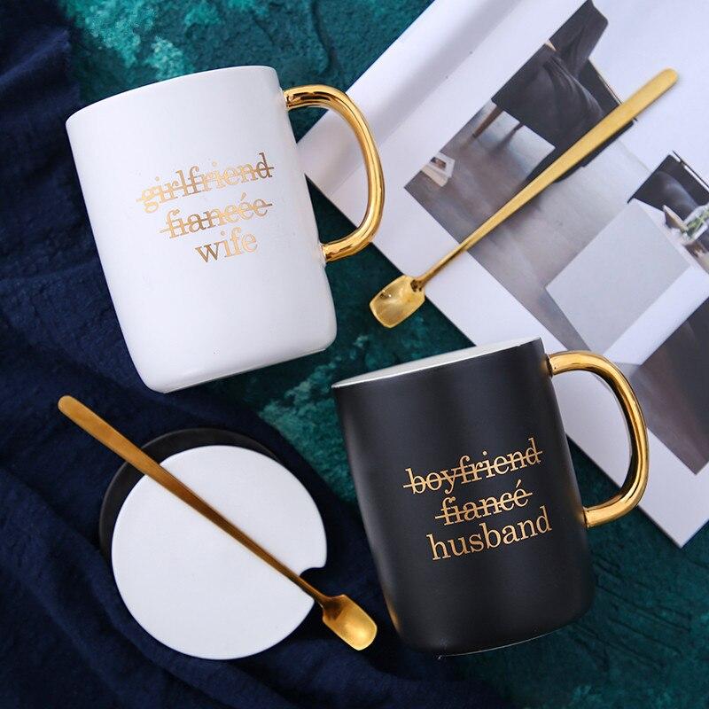 Xícara de Café com Colher Tampa de presente de Aniversário presente do dia dos namorados para o presente para namorada namorado marido esposa