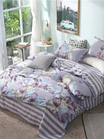 Purple Flower Woman Adult Linen Queen Single Bedding Set Girl Teenage Duvet Cover Pillowcase Stripe Sheets