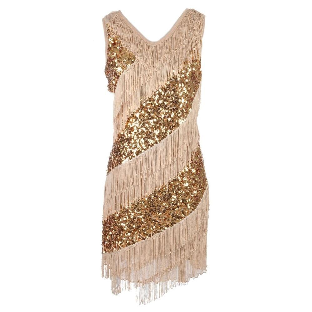 Fashion V Neck Party Kleider For 1920s Sequin Robe Short Formal ...