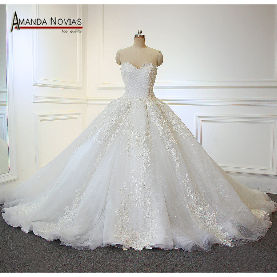 2018 vestido de noiva new design sweetheart lace ball gown for High low ball gown wedding dress