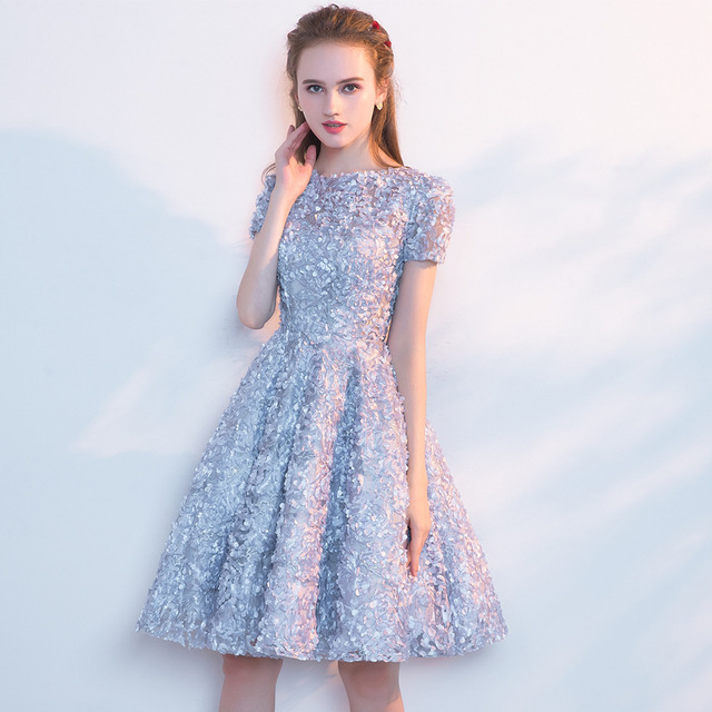 LAMYA Candy Color Appliques Prom Dresses Short Sleeve Evening Party Dress Knee Length A Line Formal Gown Zipper Robe De Soiree 3
