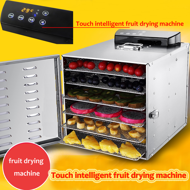6 trays Temperature time control Stainless Steel fruit dehydrator machine dryer for fruits vegetables food processor drying fish