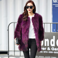 New Brand Winter Real Raccoon Coat Natural Fur Coats For Women Winter Best Fashion Furs Jackets Multicolor