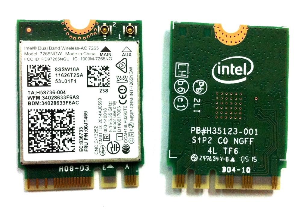 Galleria fotografica Nouvelle Carte Sans Fil Intel Double Bande Sans Fil AC 7265 7265NGW 802.11ac 2x2 WiFi + Bluetooth 4.0 867 Mbps NGFF carte Pour Lenovo