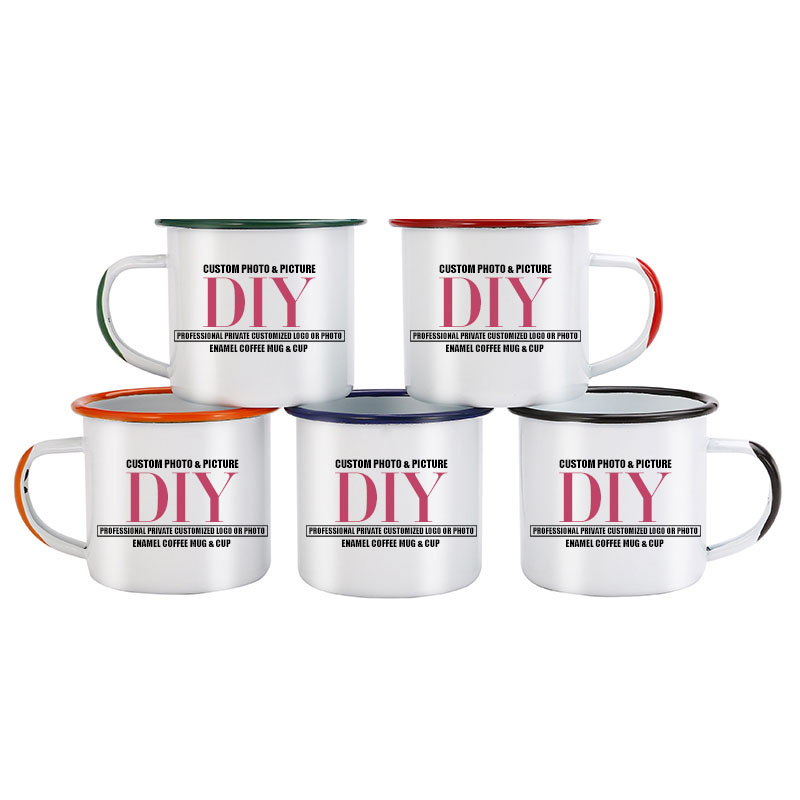Color handle and side port Enamel Coffee Mug Cup customize picture Creative gifts for Lovers Friends Family Creative Coffee Mug|coffee mug cup|mug cup|enamel coffee mug - title=