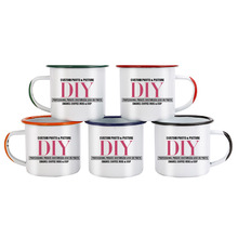 Color handle and side port Enamel Coffee Mug Cup customize picture Creative gifts for Lovers Friends Family