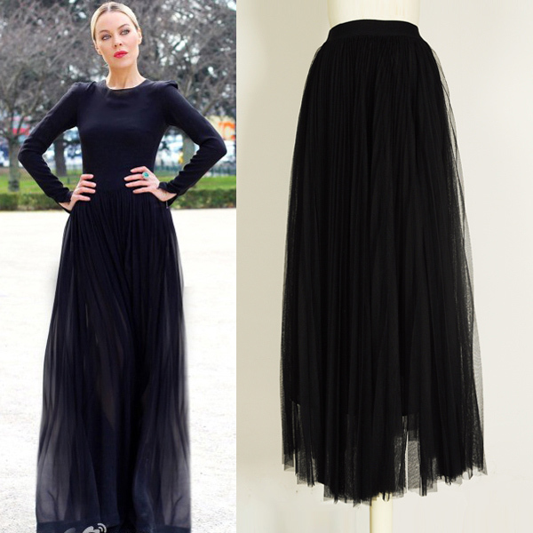 Aliexpress.com : Buy Multi Layered Black Mesh Pleated Maxi Skirts ...