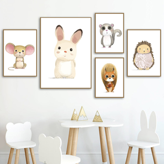 Cartoon Rabbit Mouse Squirrel Hedgehog Animals Nordic Posters