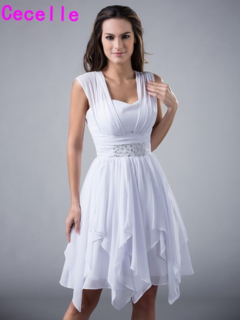 Short White High Low Bridesmaids Dresses With Straps Beaded High Low Informal Cute Wedding Party Gowns Informal Summer Casual