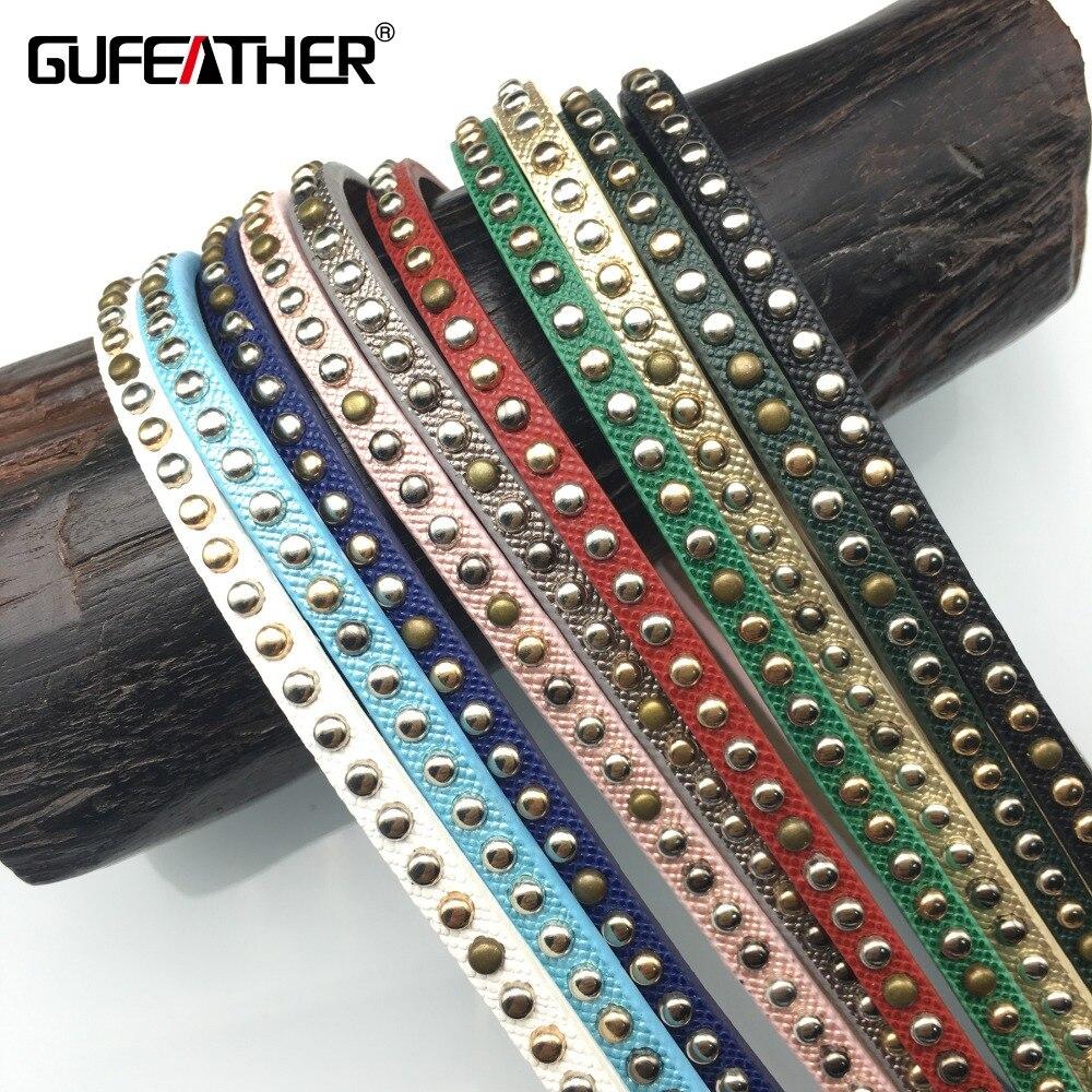 b2b91657d298 GUFEATHER P44 5mm remache Cordón de cuero accesorios de la joyería pulsera joyería  diy accesorios de la pulsera  100-120 cm