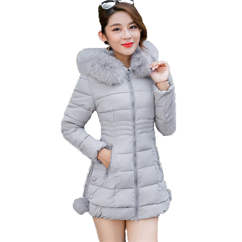 Winter fashion   parka   coat women new Korean M-3XL plus size pink gray black slim hooded long sleeve thick warmth clothing LR295