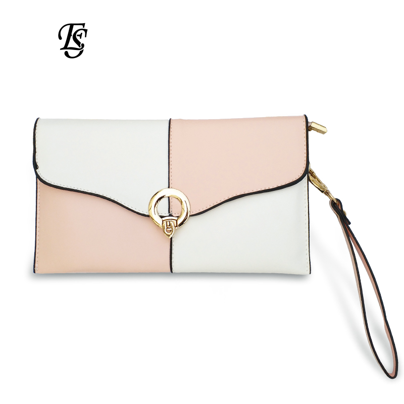 E.SHUNFA brand original 2018 fashion hot woman clutch bag contrast color lock chain shoulder bag Black Pink Gray