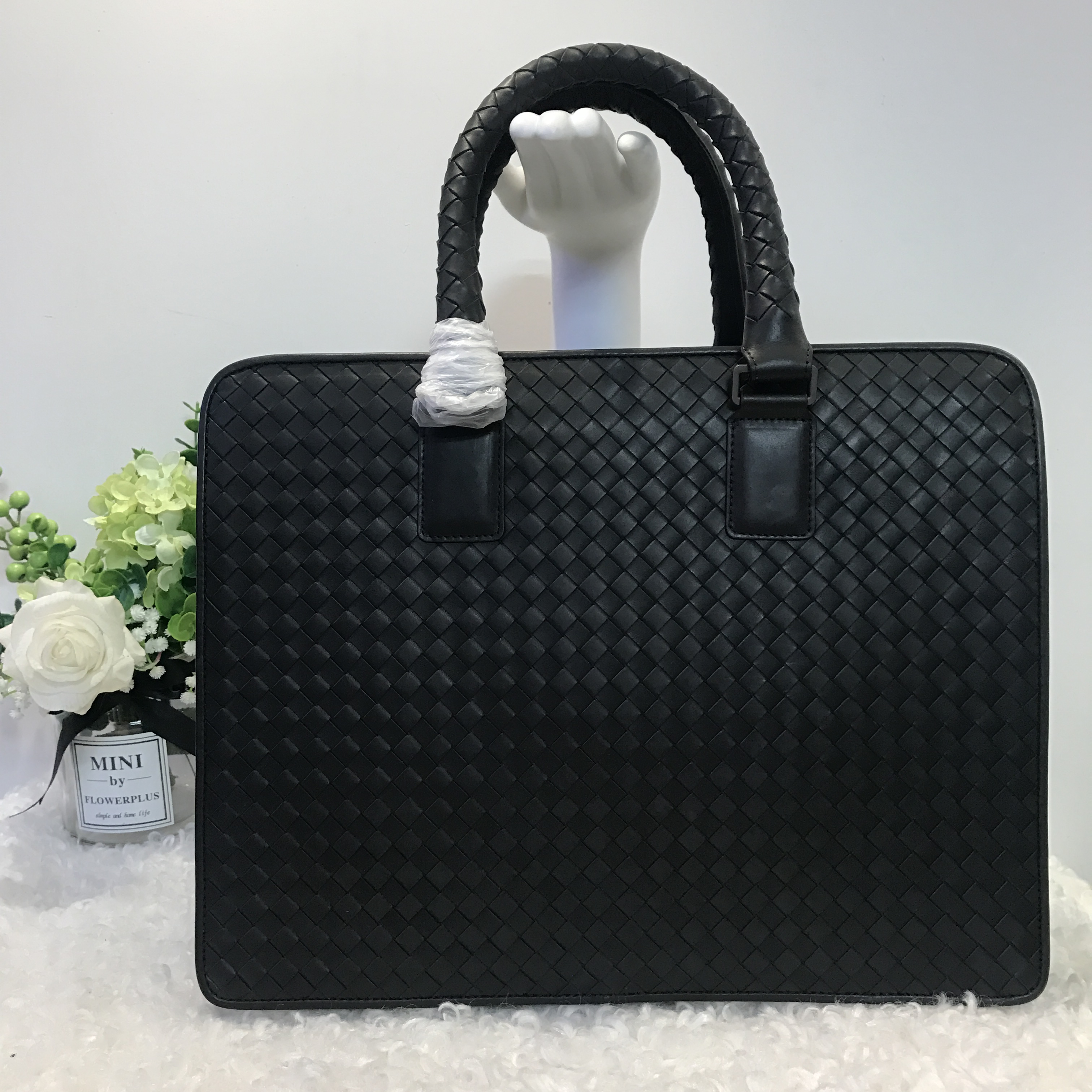 2019 Handbag Men Briefcase Men Leather Bag Office Bags Cowhide Business Affairs Bag File Pack Weave New Pattern Genuine Leather