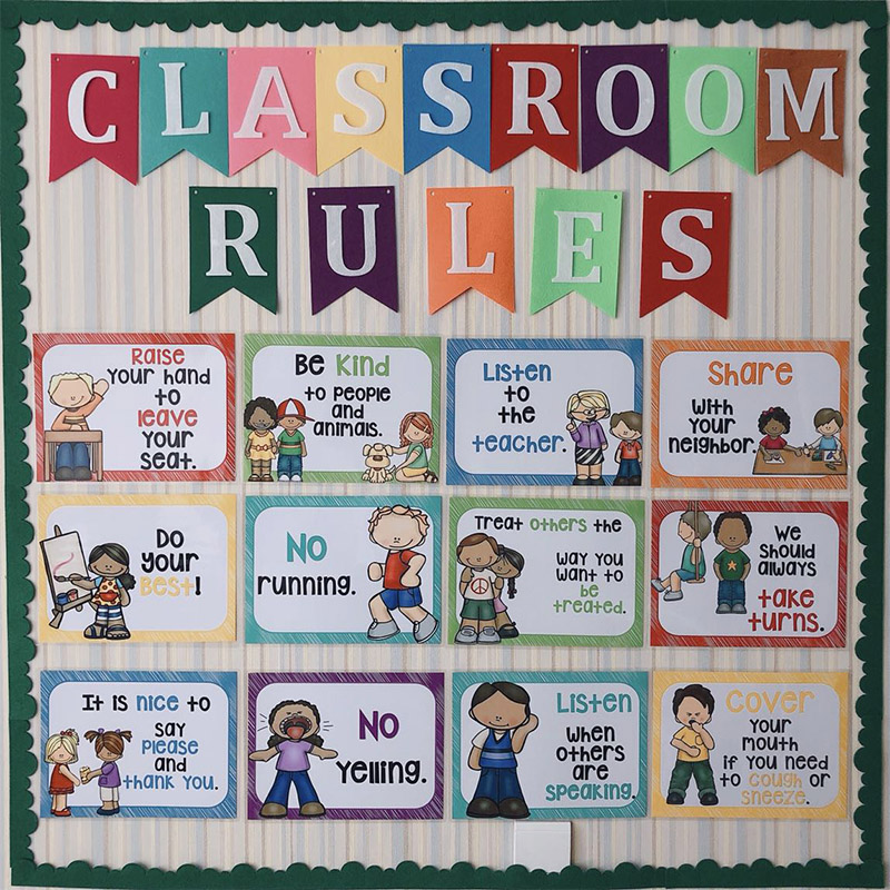 15Pcs/Set Classroom Rules Kindergarten Wall Decoration