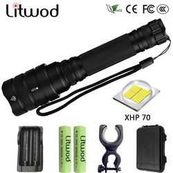 Litwod Z201515 LED flashlight 20000LM XH P70 Aluminum alloy Zoomable torch Tactical defense Lantern For Camping Hiking light