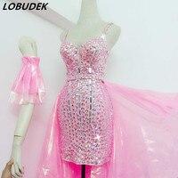 Блестящее розовое платье со стразами на бретельках Длинные пряжа хвост наряды сексуальный ночной клуб бар женщины для певицы для сцены кос