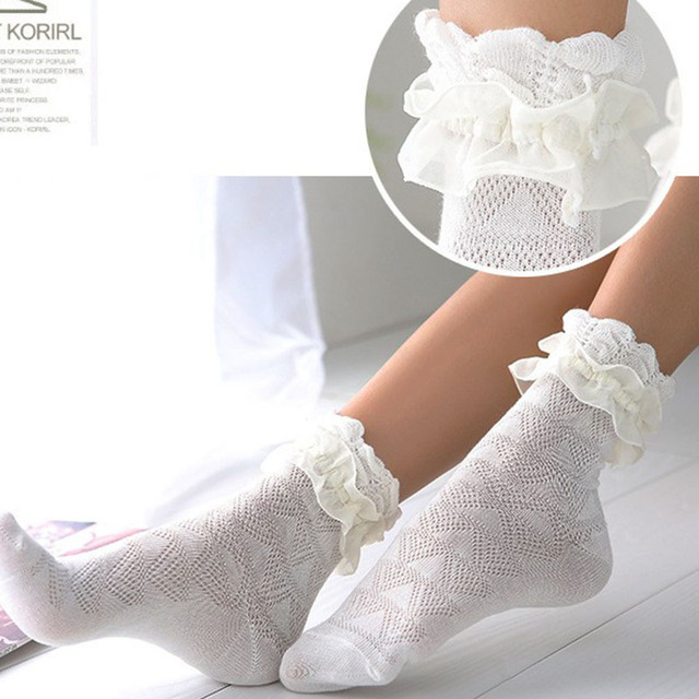 Princess Girl Cute Lace Socks Women Hollow Flower Cotton Lacework Socks Female Lovely Vintage Ruffle Frilly Ankle Socks Retro