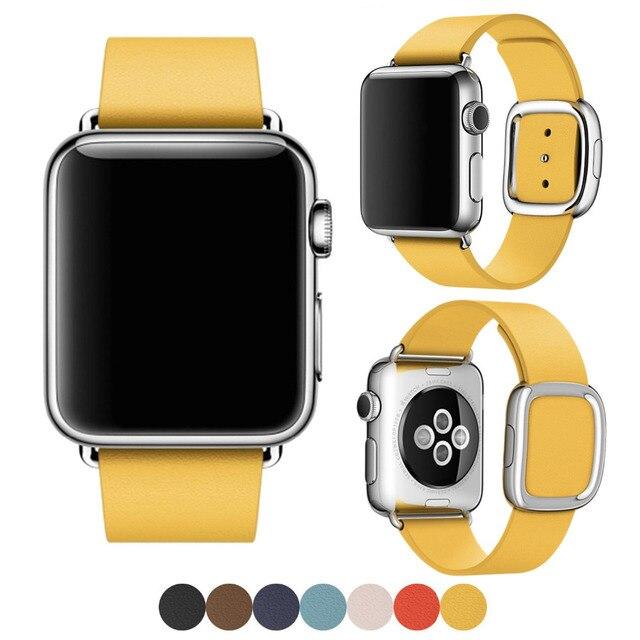 Para apple watch banda moderna hebilla banda para iwatch brazalete de 38mm 42mm granada suave de cuero para apple watch cuero genuino