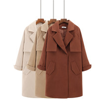 2017 New Spring Woolen Coat Trench Women Slim Covered Button Black Winter Coats Long Outerwear for Women