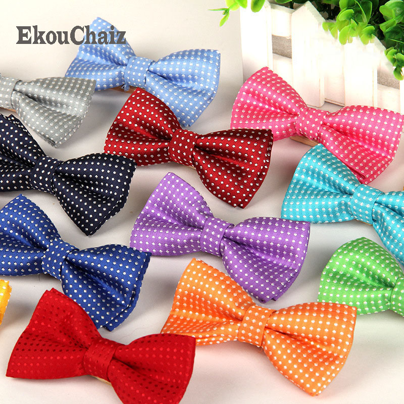 Leisure Kids Bowtie Polyester Red Green Pink Dot Self Tie Butterfly Papillon Bow Ties Purple Brown Children Performance Neckties