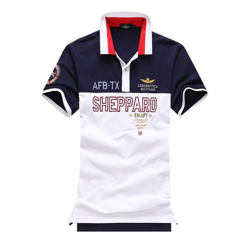 Mens Summer   Polo   Shirt 2018 Breathable Air Force One   Polo   Embroidery Lapel   Polo   Shirt Fashion Man Aeronautica Militare   Polos