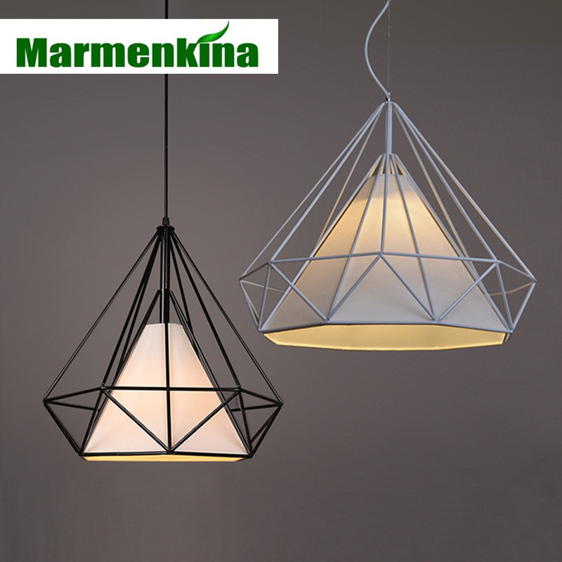 Marmenkina Wrought Iron Cage Diamond cage Pendant Lamp Nordic Bar clothing coffee shop Restaurant E27 Pendant Lights,AC110-240V vintage indusrial nordic loft edison bulb pendant light bar cafe wrought iron cage hanging lamp coffee shop club restaurant