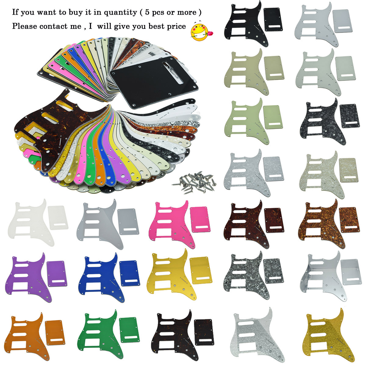 KAISH Various colors ST Style HSS Guitar Pickguard Scratch Plate,Trem Cover, Screws musiclily 3ply pvc outline pickguard for fenderstrat st guitar custom