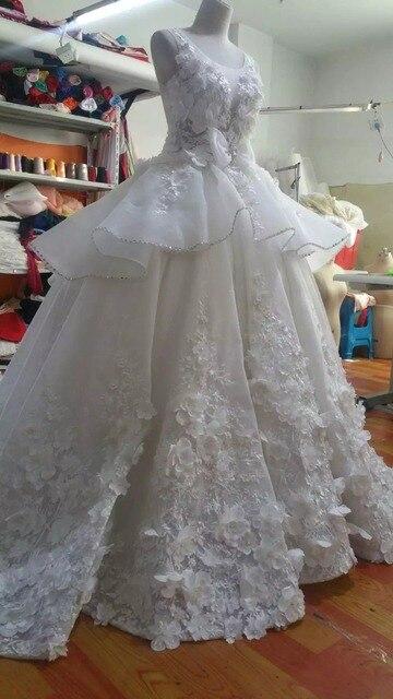 Encanto Vestidos de Boda Real Pictures Apliques de Perlas Con Gradas ...