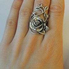 Потрясающие Твердые серебряные лепесток цветка розы лоза дизайн кольцо Свадебные кольца с цветами для женщин Подарки антикварные ювелирные изделия(S925 штамп