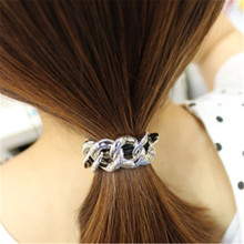 1 Piece Metal Chain Elastic Hair Band Head Knot Rope Ponytail Holder Gold Silver For Girls Chain Headband Head Hair Accessories(China)