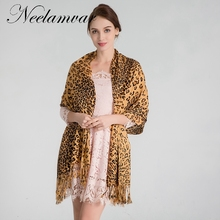 Neelamvar Autumn and Winter brand scarf womens thick shawls leopard cotton scarves pashmina echarpes fashion ladies accessories